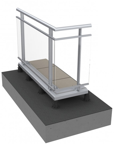 Railing system fixed to slab on stud or wood deck - BE298-SA438