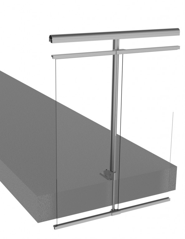 Railing system with gap under the handrail and passing in front of the slab - PD298-BEV